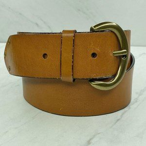 Ann Taylor Loft Wide Studded Brown Leather Belt